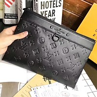 Louis Vuitton LV Fashion New Monogram Leather  Women Men Handbag File Cosmetic Bag Package Bag Black