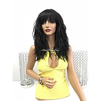 Black Wavy Bangs Full Wig - Dada