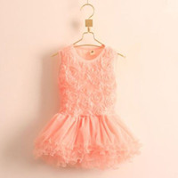 2015 Baby Girls Princess Flower Solid Lace Layered Tutu Gown Fancy Dresses 2-7Y