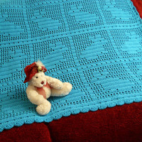 Crochet Baby Blanket with blue bunnies, rabbits
