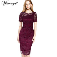 Vfemage Womens Elegant Floral Lace Party Bridesmaid Mother of Bride Special Occasion Sheath Pencil Bodycon Dress 3088