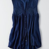 AEO Women's Sleeveless Mesh Button Down Shirt