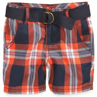 GUESS Baby Boys' Belted Plaid Shorts