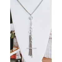 Coin Dangle & Cross Long Necklace