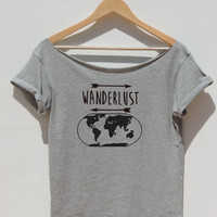 WANDERLUST women's Tshirt off the shoulder Top world map Graphic Tee Summer trends for journey vacation traveling adventure