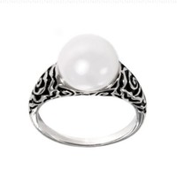 Sterling Silver White Freshwater Cultured Button Pearl Ring, Size 7