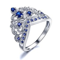 Rose Princess 18K White Gold Plated 925 Silver 6 X 2mm Created Blue Sapphire Princess Crown Ring S-7