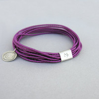 Violet bangle, bohemian ethnic bracelet, silk cord and sterling silver, stacking bangles