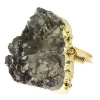 Stop Smoking Druzy Crystal & Gold Wire Ring