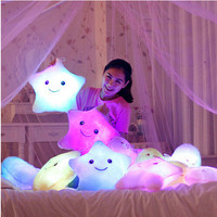 2015 Luminous Colorful Star Glowing Pillow Christmas Toys For Children Led Light Plush Pillow Toy For Girls Christmas Gift