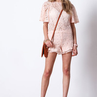 BLUSH ROSE LACE FLUTTER TOP