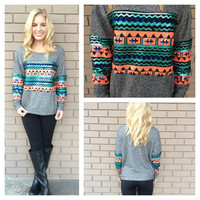 Neon Coral & Mint Sequin Sweater Top