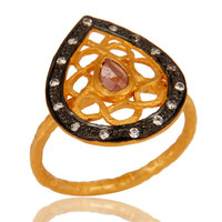 Designer Tourmaline And CZ Sterling Silver Cocktail Ring With Gold Plated