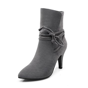 Pointed Toe Cross Straps High Heel Ankle Boots Women Shoes 1131