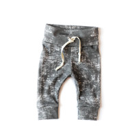 Organic Drawstring Leggings in Grunge Slate