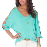 Ladder Sleeve Knit Top $24