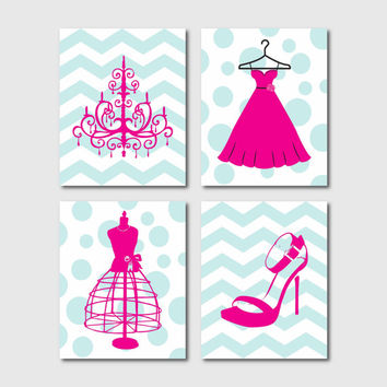 Wall Art - Fashion Shoes Dress Chandelier Dress Form - Chevron Polka dots - Your choice of background - Four 8 x 10 prints - Silhouettes