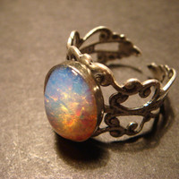 Fire Opal Antique Silver Filigree Ring- Adjustable (479)