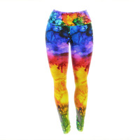 "Claire Day ""Karma"" Rainbow Paint Yoga Leggings"