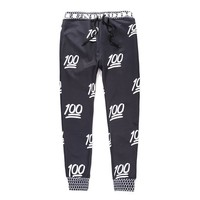 Women Men Emoji 3D white 100 Score Sweatpants Joggers Pants (XL)
