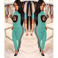 FENDI Summer Hot Sale Women Casual Sequins Top Pants Set Two-Piece Sportswear Mint Green