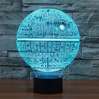3D LED Star Wars 7 Color Change Night Light Touch Button