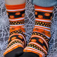 Halloween Stripes Crew - Sock Dreams - Unique Colorful Socks