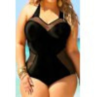 Stylish Halter Spliced Plus Size One-Piece Swimsuit For Women