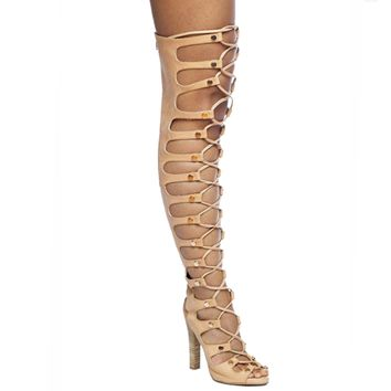 JEFFREY CAMPBELL ENABLE HI GLADIATOR BOOT - BLONDE (SAMPLE)