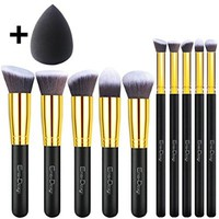 EmaxDesign 10+1 Pieces Makeup Brush Set, 10 Pieces Professional Foundation Blending Blush Eye Face Liquid Powder Cream Cosmetics Brushes & 1 Piece Beauty Sponge Blender