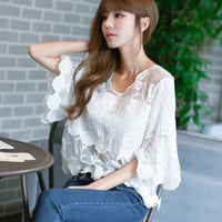 New Arrival Women Shirts Sexy Hollow Out Floral Lace Blouse Flare Sleeve Shirt V-Neck Blusas Woman Tops Plus Size 72659 GS