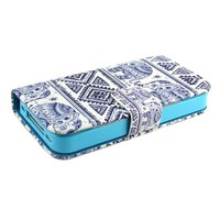 """ivencase Elephants Design Wallet PU Leather Stand Flip Case Cover For Apple iphone 4 4S + One """"ivencase """" Anti-dust Plug Stopper"""