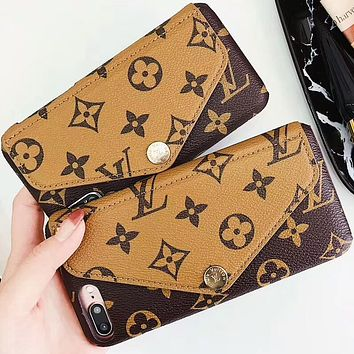 LV Louis Vuitton classic pattern iPhone8plus mobile phone case card protector F-OF-SJK #2