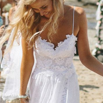 White Lace Patchwork Long Trailing  Dress