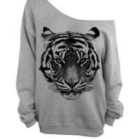 Gray Slouchy Oversized CREW Sweater - Tiger