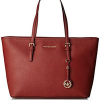 Michael Kors Jet Set Travel Leather Tote, Red
