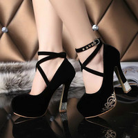 2016 New High Quality Women Pumps Platform Thick Heels Cross Strap Women Wedding Shoes Red Bottom High Heels Shoes Size 34-42