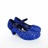Royal Blue Glitter Girls Heels, Flower Girl Shoes