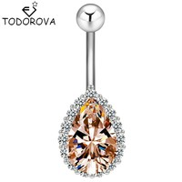 Todorova Fashion Water Drop Zircon Navel Piercing Stainless Steel Belly Button Rings Body Jewelry for Women