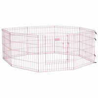 """Midwest Life Stages Pet Exercise Pen with Full MAX Lock Door 8 Panels Pink 24"""" x 24"""""""