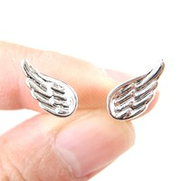 Classic Feather Shaped Angel Wing Stud Earrings in Silver | DOTOLY