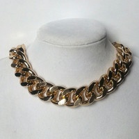 18 Carrot Bunnie Necklace thick gold curb link chain