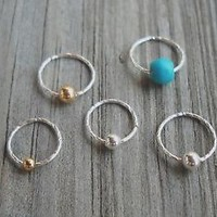 925 Sterling Silver Twisted Beaded Septum Ring,Nose Ring piercing ring,cartilage