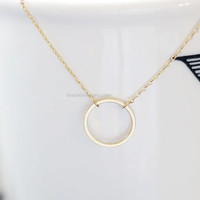 Dainty Circle Necklace / Karma Necklace, 14k Gold Fill, Delicate Chain / Dainty Circle Outline