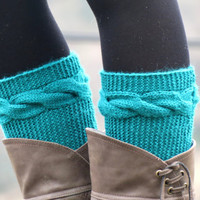 Knitted Boot Cuff  Woman  - Teal Blue Short Cable Knit Boot Cuffs. Short Leg Warmers. Crochet Boot Cuffs. Teal Blue Legwear
