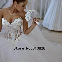 QQ Lover 2017 Wedding Dress Sexy Custom Made Vestido De Noiva See Through Back Pearls Wedding Dresses With Pictures