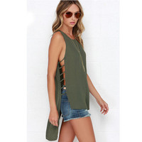 Olive Green Strappy Cutout Sides Keyhole Back Asymmetrical Top