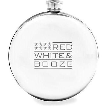 Red, White & Booze Round - Stainless Steel Flask