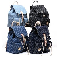 LV Fashion Men's and Women's Backpacks Jeans Printed Shoulder Bags