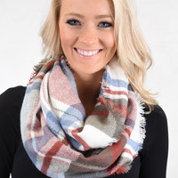 Red & Sage Infinity Scarf